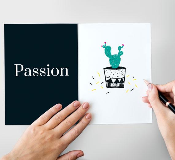 Cacto desenhado com paixão - conceito