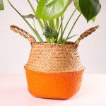 Cesto decorativo natural para plantas laranja