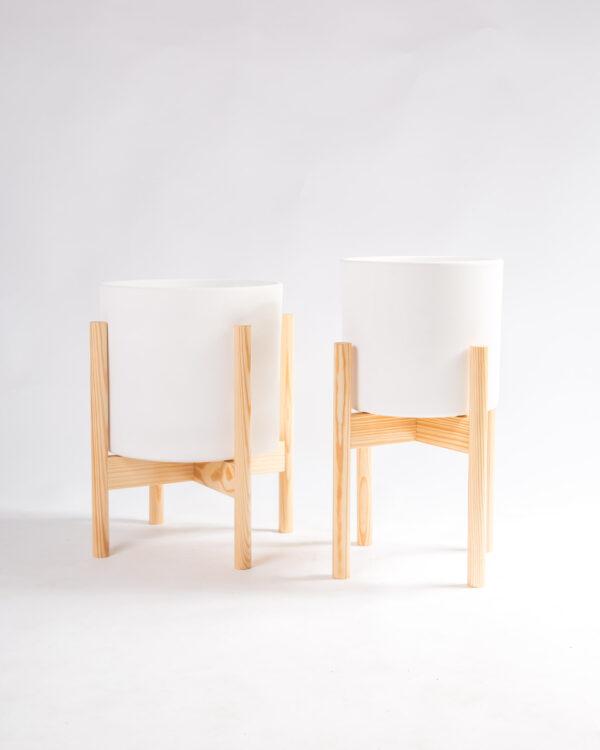 suportes para vasos em madeira